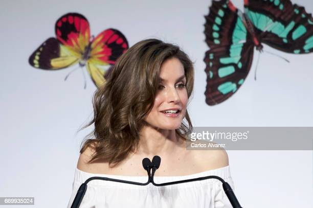 Queen Letizia of Spain attends the 'Gran Angular' and 'El Barco De Vapor' literature awards at Casa de Correos on April 18 2017 in Madrid Spain