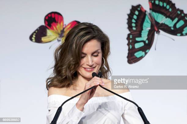 Queen Letizia of Spain attends the 'Gran Angular' and 'El Barco De Vapor' literature awards at Casa de Correos on April 18 2017 in Madrid Spain