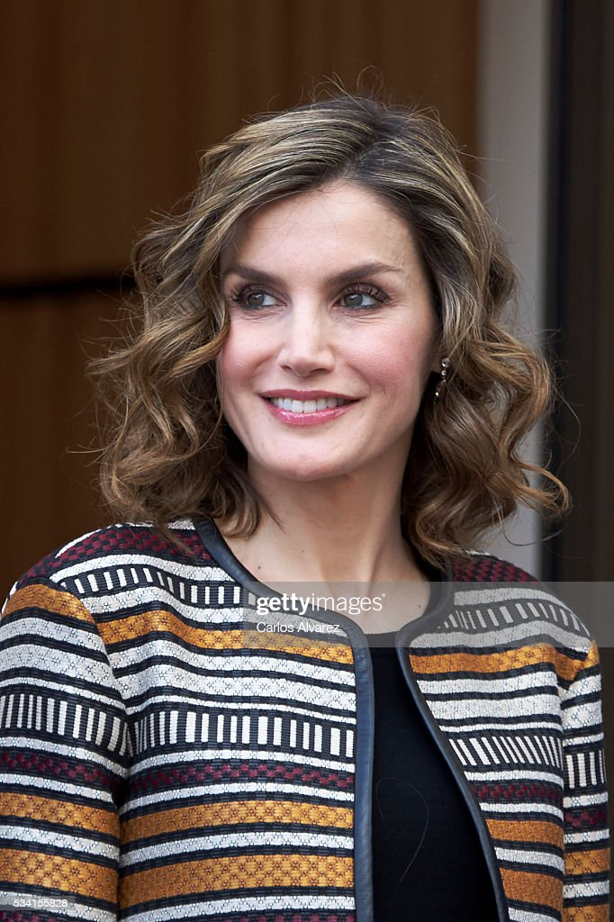 Queen Letizia of Spain attends the inauguration of the 11th International Seminar of Language and Journalism 'El Lenguaje del Humor en el Periodismo Espanol' at the Monastery of Yuso on May 25, 2016 in San Millan de la Cogolla, Spain.