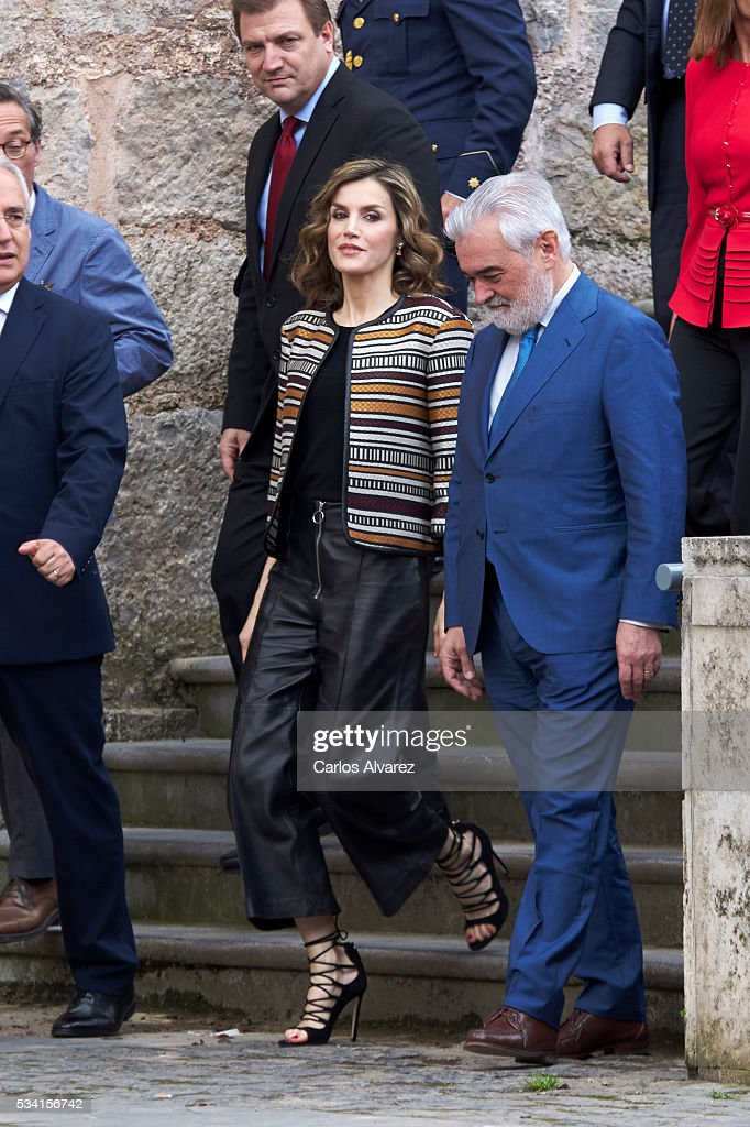 Queen <a gi-track='captionPersonalityLinkClicked' href=/galleries/search?phrase=Letizia+of+Spain&family=editorial&specificpeople=158373 ng-click='$event.stopPropagation()'>Letizia of Spain</a> attends the inauguration of the 11th International Seminar of Language and Journalism 'El Lenguaje del Humor en el Periodismo Espanol' at the Monastery of Yuso on May 25, 2016 in San Millan de la Cogolla, Spain.