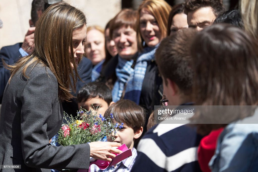 Queen Letizia of Spain attends the inauguration of the 12th International Seminar of Language and Journalism 'Lenguaje Claro, Reto de la Sociedad del Siglo XXI' at the Monastery of Yuso on May 3, 2017 in San Millan de la Cogolla, Spain.