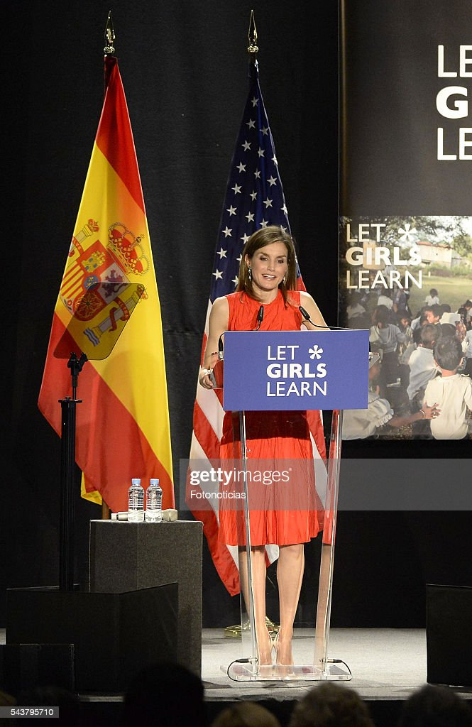 Queen <a gi-track='captionPersonalityLinkClicked' href=/galleries/search?phrase=Letizia+of+Spain&family=editorial&specificpeople=158373 ng-click='$event.stopPropagation()'>Letizia of Spain</a> attends the 'Let Girls Learn' conference at Matadero de Madrid on June 30, 2016 in Madrid, Spain.