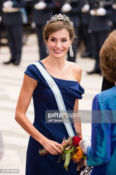 Queen Letizia of Spain attends the Lord Mayor's Banquet at the Guildhall during a State visit by the King and Queen of Spain on July 13 2017 in...