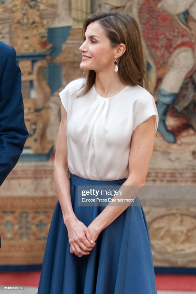 Queen Letizia of Spain attends the meeting with members of Princess of Asturias Foundation at El Pardo palace on June 16, 2017 in Madrid, Spain.