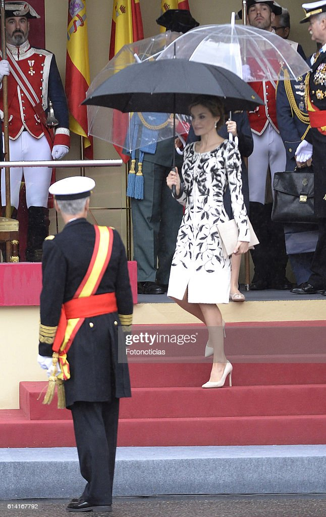 Queen Letizia of Spain attends the National Day military parade on October 12, 2016 in Madrid, Spain