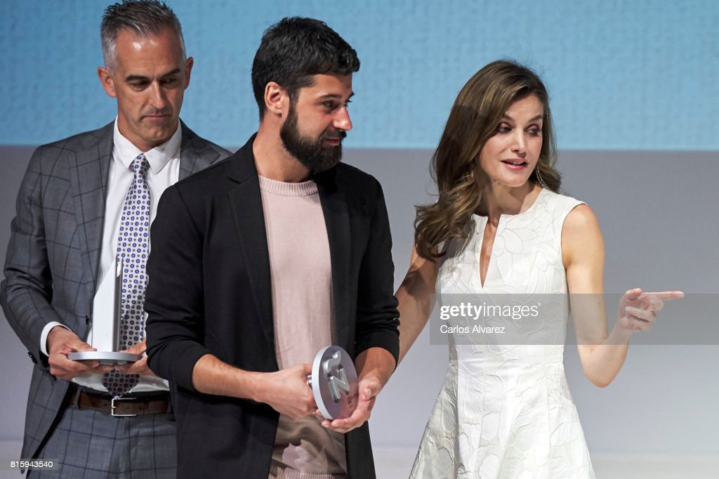 Queen Letizia of Spain (R) attends the National Fashion Awards 2017 at Museo del Traje on July 17, 2017 in Madrid, Spain.