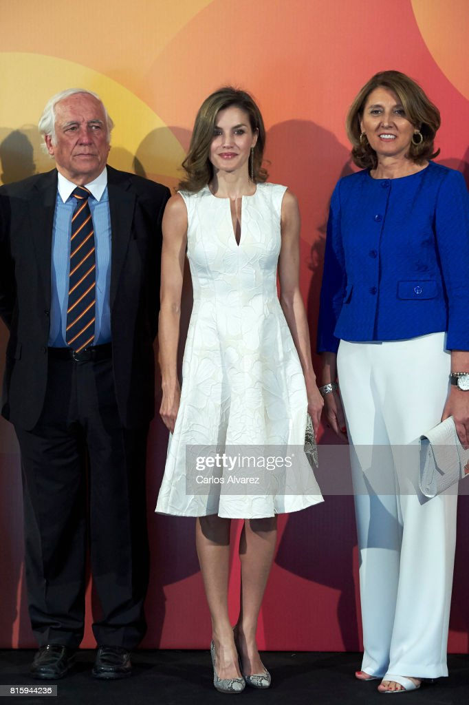Queen Letizia of Spain (C) attends the National Fashion Awards 2017 at Museo del Traje on July 17, 2017 in Madrid, Spain.