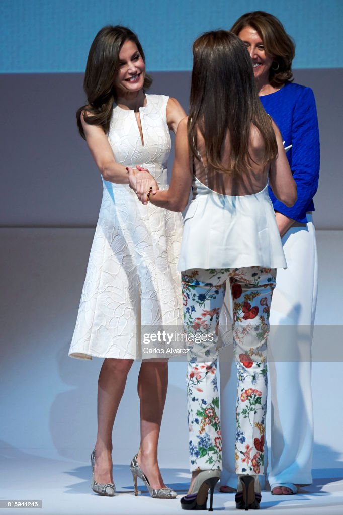 Queen Letizia of Spain (L) attends the National Fashion Awards 2017 at Museo del Traje on July 17, 2017 in Madrid, Spain.