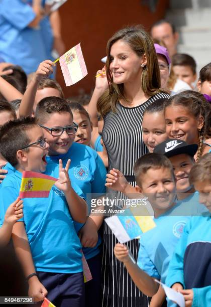 Queen Letizia of Spain attends the opening of the 20172018 scholarship course at 'San Matias' School Centre on September 19 2017 in Santa Cruz de...