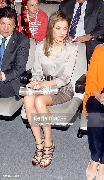 Queen Letizia of Spain attends the opening of the International Music School Summer Courses by Prince of Asturias Foundation on July 18 2014 in...