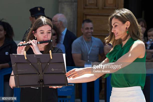 Queen Letizia of Spain attends the opening of the International Music School Summer Courses by Princess of Asturias Foundation at the Prince Felipe...