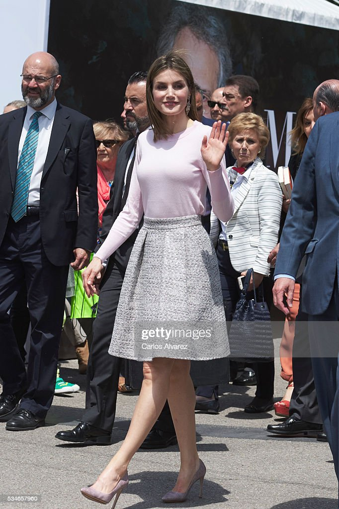 Queen Letizia of Spain attends the opening of the Madrid Book Fair 2016 at the Retiro Park on May 27, 2016 in Madrid, Spain.