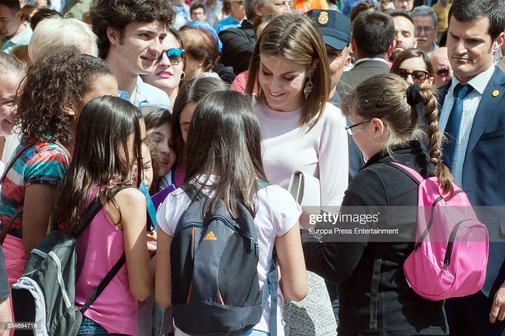 Queen Letizia of Spain attends the opening of the Madrid Book Fair 2016 on May 27, 2016 in Madrid, Spain.