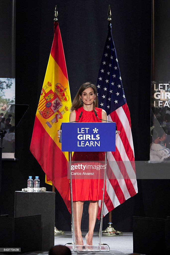 Queen <a gi-track='captionPersonalityLinkClicked' href=/galleries/search?phrase=Letizia+of+Spain&family=editorial&specificpeople=158373 ng-click='$event.stopPropagation()'>Letizia of Spain</a> attends the presentation of 'Let Girls Learn' by US First Lady Michelle Obama at Matadero cultural center on on June 30, 2016 in Madrid, Spain. In this initiative Michelle Obama shares the stories of girls she has met in her prior travels and highlights new commitments to support 'Let Girls Learn'. Mrs. Obama encourage the audience to value their own educational opportunities, continue to strive for progress for girls and young women in their country, and take action to help the more than 62 million girls around the world who are out of school.