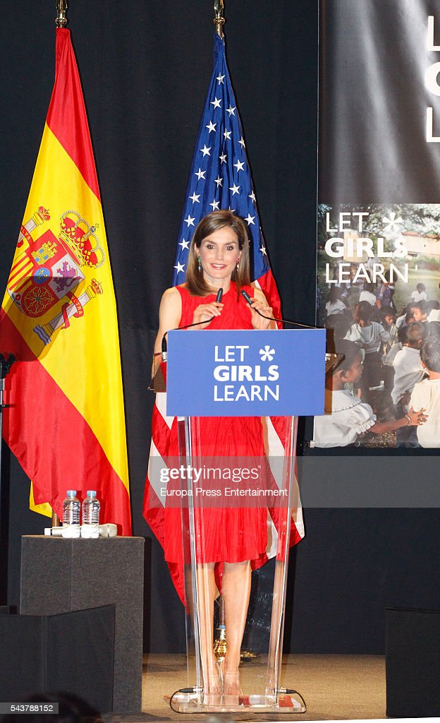 Queen <a gi-track='captionPersonalityLinkClicked' href=/galleries/search?phrase=Letizia+of+Spain&family=editorial&specificpeople=158373 ng-click='$event.stopPropagation()'>Letizia of Spain</a> attends the presentation of 'Let Girls Learn' by US First Lady Michelle Obama at Matadero on June 30, 2016 in Madrid, Spain. In this initiative Michelle Obama shares the stories of girls she has met in her prior travels and highlights new commitments to support 'Let Girls Learn'. Mrs. Obama encourage the audience to value their own educational opportunities, continue to strive for progress for girls and young women in their country, and take action to help the more than 62 million girls around the world who are out of school.
