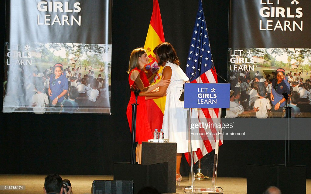 Queen <a gi-track='captionPersonalityLinkClicked' href=/galleries/search?phrase=Letizia+of+Spain&family=editorial&specificpeople=158373 ng-click='$event.stopPropagation()'>Letizia of Spain</a> (L) attends the presentation of 'Let Girls Learn' by US First Lady <a gi-track='captionPersonalityLinkClicked' href=/galleries/search?phrase=Michelle+Obama&family=editorial&specificpeople=2528864 ng-click='$event.stopPropagation()'>Michelle Obama</a> (R) at Matadero on June 30, 2016 in Madrid, Spain. In this initiative <a gi-track='captionPersonalityLinkClicked' href=/galleries/search?phrase=Michelle+Obama&family=editorial&specificpeople=2528864 ng-click='$event.stopPropagation()'>Michelle Obama</a> shares the stories of girls she has met in her prior travels and highlights new commitments to support 'Let Girls Learn'. Mrs. Obama encourage the audience to value their own educational opportunities, continue to strive for progress for girls and young women in their country, and take action to help the more than 62 million girls around the world who are out of school.