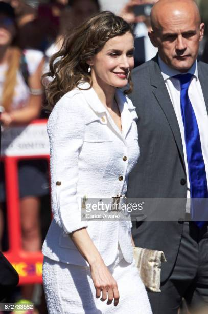 Queen Letizia of Spain attends the presentation of the 'Barrios por el Empleo' project at the Cabildo Insular on April 25 2017 in Tenerife Spain