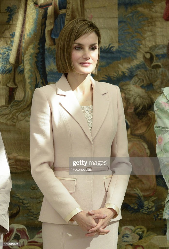 Queen Letizia of Spain attends the Reina Sofia 2014 Awards Ceremony at El Pardo Palace on April 29, 2015 in Madrid, Spain.