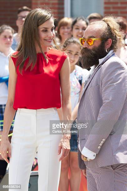 Queen Letizia of Spain attends 'Toma la Palabra' cultural program for schools at the 'Jeronimo Gonzalez' school on June 20 2017 in Aviles Spain