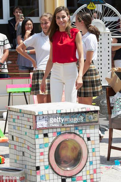 Queen Letizia of Spain attends 'Toma la Palabra' cultural program for schools at the 'Jeronimo Gonzalez' school on June 20 2017 in Sama de Langreo...