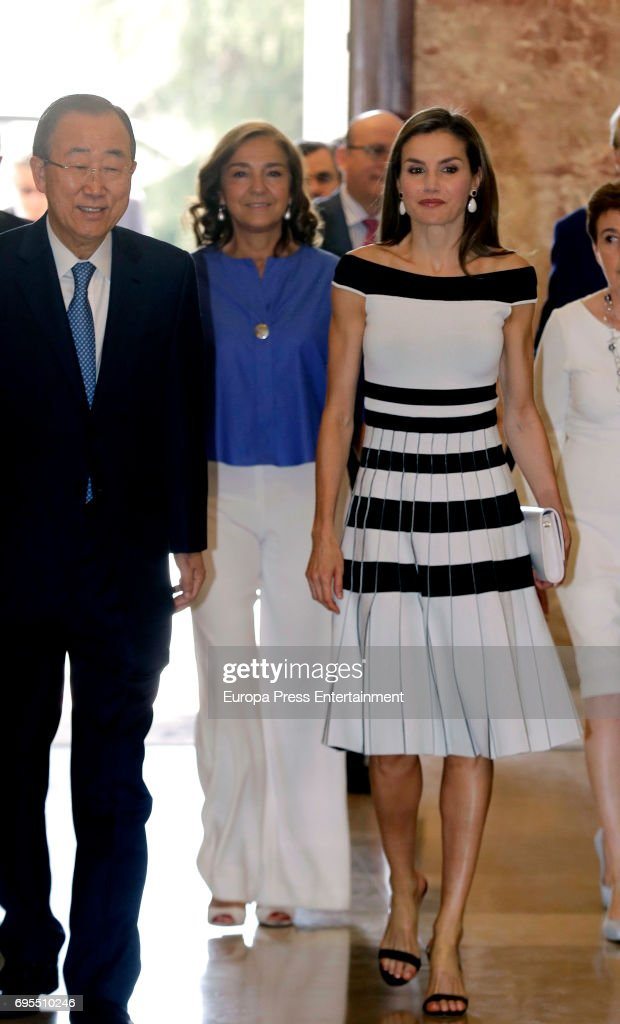 Queen Letizia of Spain attends UNICEF Awards 2017 to Ban Ki-moon at CSIC headquaters on June 13, 2017 in Madrid, Spain.