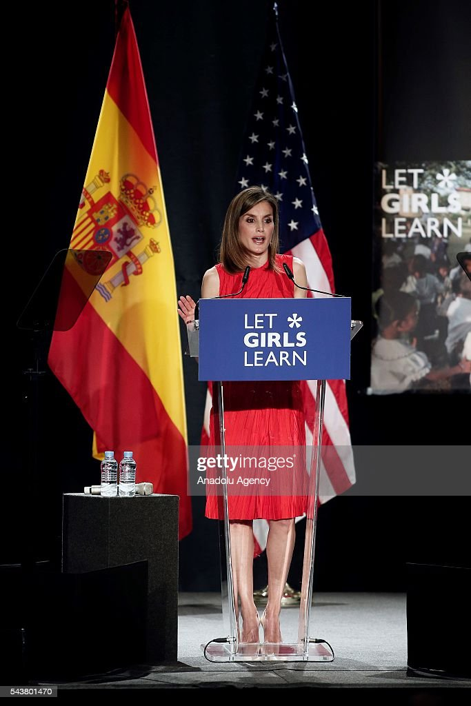 Queen Letizia of Spain delivers a speech as the US President Barrack Obama' s wife Michelle Obama (not seen) makes presentation of a project named 'Let Girls Learn' at Matadero Education Center in Madrid, Spain on June 30, 2016.