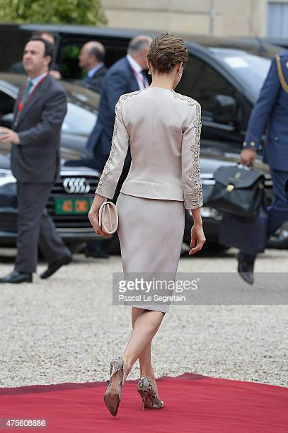 Queen Letizia of Spain departs from the Elysee Palace to meet French President Francois Hollande on June 2 2015 in Paris France