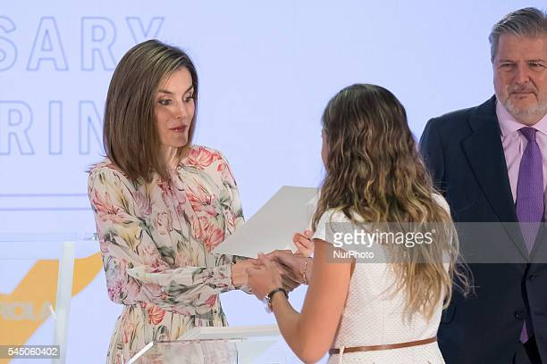 Queen Letizia of Spain during a ceremony held to present Iberdrola 2016 Scholarships at the Spanish company's headquarters in Madrid Spain 05 July...