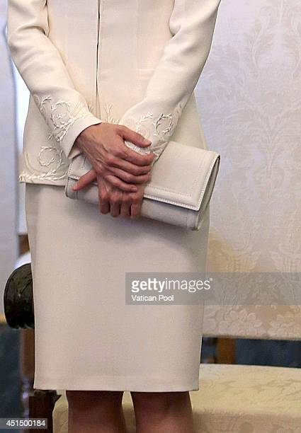 Queen Letizia of Spain during a meeting with Pope Francis at his private library in the Apostolic Palace on June 30 2014 in Vatican City Vatican King...