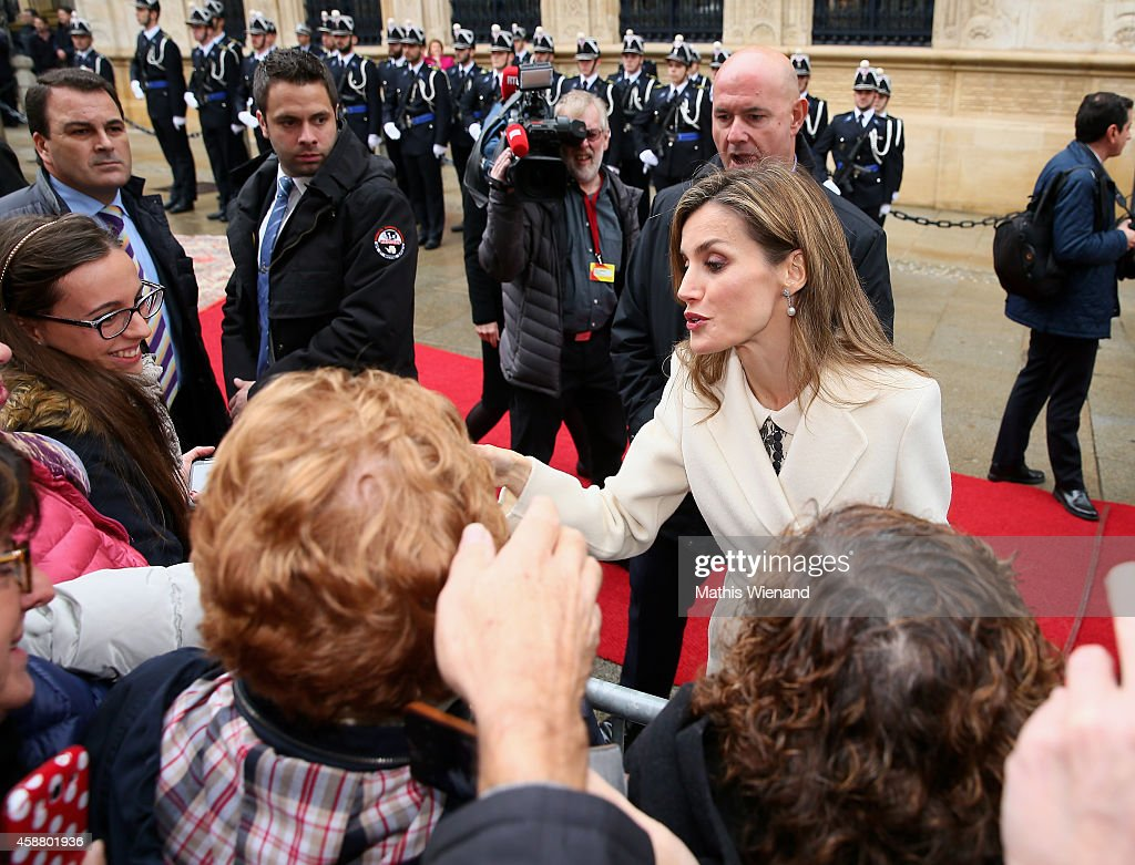 Queen Letizia of Spain during a one day visit to Luxembourg on November 11, 2014 in Luxembourg, Luxembourg.
