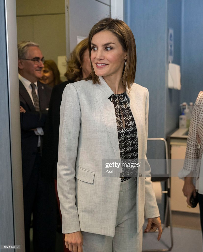 Queen Letizia of Spain during a visit to the Institute of Food Science Research (CIAL) on May 3, 2016 in Madrid, Spain.