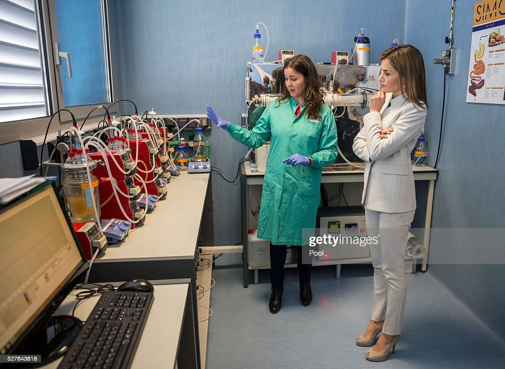 Queen Letizia of Spain (R) during a visit to the Institute of Food Science Research (CIAL) on May 3, 2016 in Madrid, Spain.