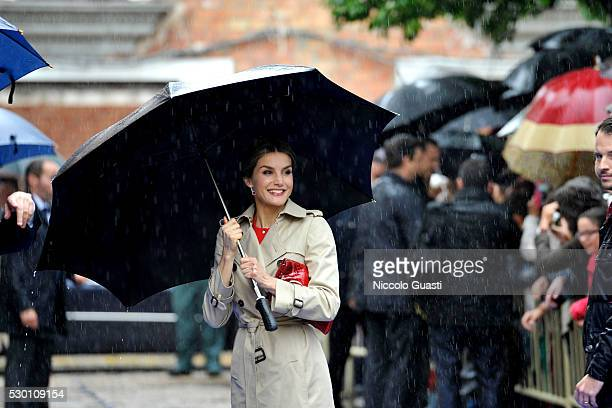 Queen Letizia of Spain greets the crowd during a visit to La Rinconada on May 10 2016 in La Rinconada Seville Spain