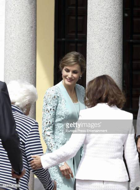 Queen Letizia of Spain her grandmother Menchu Alvarez del Valle and her mother Paloma Rocasolano attend the First Communion of Princess Sofia at the...