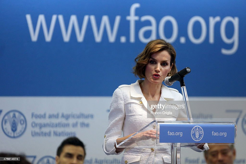 Queen Letizia Of Spain holds her speech as she is named FAO Special Ambassador for Nutrition at the FAO Headquarters on June 12, 2015 in Rome, Italy.