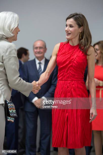 Queen Letizia of Spain inaugurates the annual meeting with director of Cervantes Institutes at Museo Ruso San Petersburgo on July 24 2017 in Malaga...