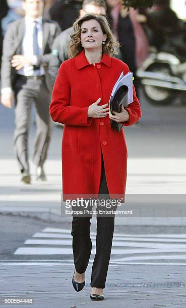 Queen Letizia of Spain is seen arriving at FEDER headquarters on December 9 2015 in Madrid Spain
