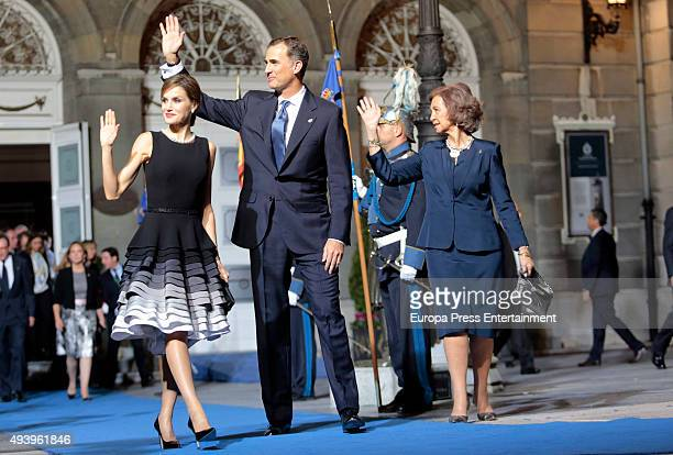 Queen Letizia of Spain King Felipe VI of Spain and Queen Letizia of Spain attend the Princess of Asturias Awards 2015 at the Campoamor Theater on...