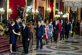 Queen Letizia of Spain King Felipe VI of Spain attend Spain's National Day royal reception at Royal Palace in Madrid on October 12 2015 in Madrid...