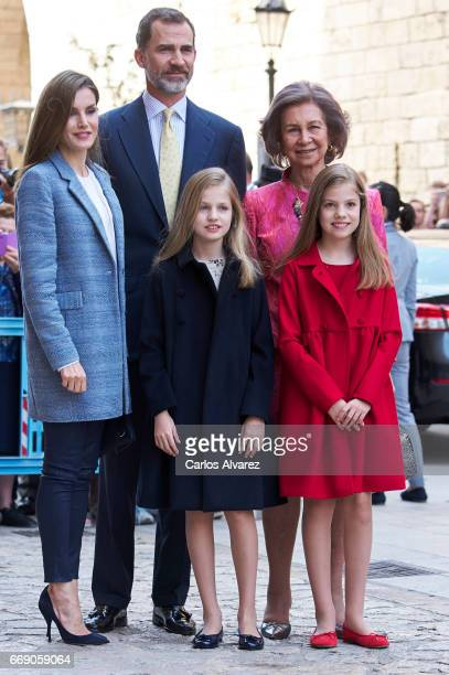 Queen Letizia of Spain King Felipe VI of Spain Princess Leonor of Spain Queen Sofia and Princess Sofia of Spain attend the Easter Mass at the...