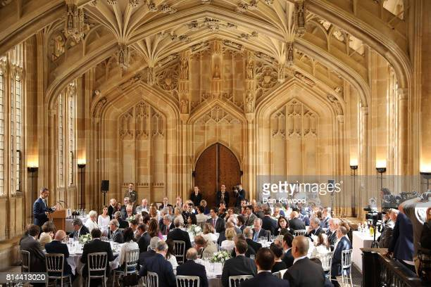 Queen Letizia of Spain listens as King Felipe of Spain speaks at Divinity School Oxford during a State visit to the UK on July 14 2017 in Oxford...