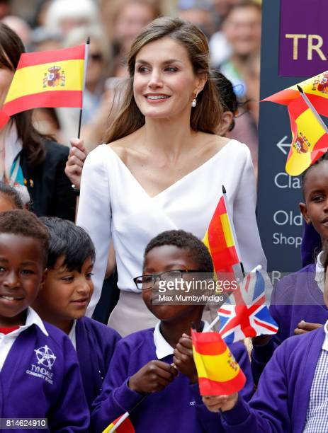Queen Letizia of Spain meets school children as she visits the Weston Library at Oxford University on the final day of the Spanish State Visit to the...