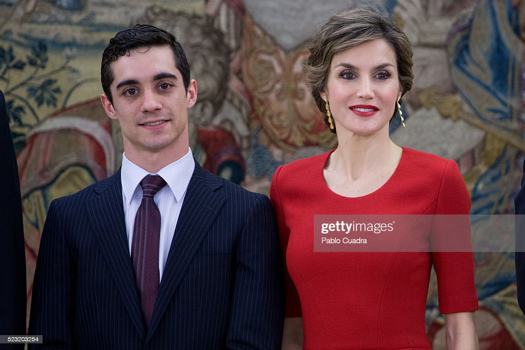 Queen Letizia of Spain (R) meets Spanish figure skater Javier Fernandez (L) at Zarzuela Palace on April 22, 2016 in Madrid, Spain.
