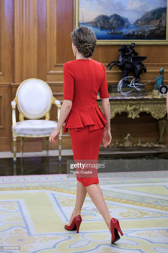 Queen Letizia of Spain meets Spanish figure skater Javier Fernandez at Zarzuela Palace on April 22, 2016 in Madrid, Spain.