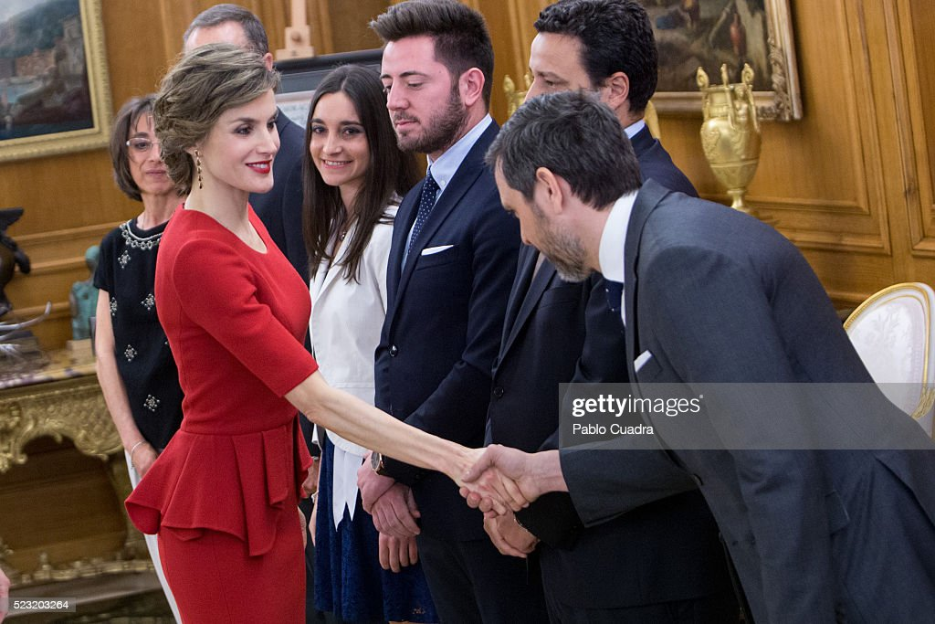 Queen Letizia of Spain (L) meets Spanish figure skater Javier Fernandez at Zarzuela Palace on April 22, 2016 in Madrid, Spain.