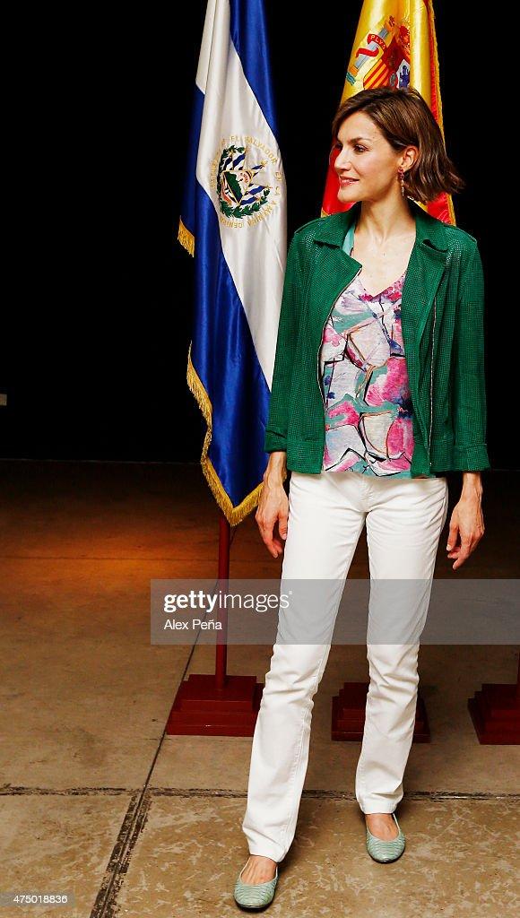 Queen Letizia of Spain poses inside the Cultural Center of Spain in El Salvador during an official visit to El Salvador on May 28, 2015 in San Salvador, El Salvador.