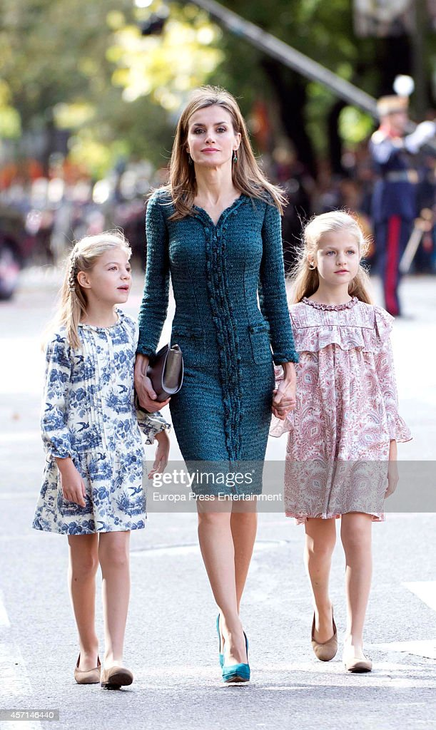 Queen Letizia of Spain Princess Leonor and Princess Sofia attend the National Day Military Parade on October 12 2014 in Madrid Spain