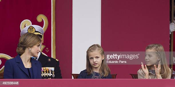 Queen Letizia of Spain Princess Leonor and Princess Sofia attend the National Day Military Parade 2015 on October 12 2015 in Madrid Spain