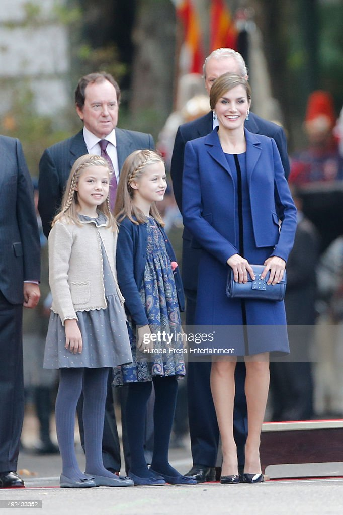 Queen Letizia of Spain, Princess Leonor and Princess Sofia (L) attend the National Day Military Parade 2015 on October 12, 2015 in Madrid, Spain.