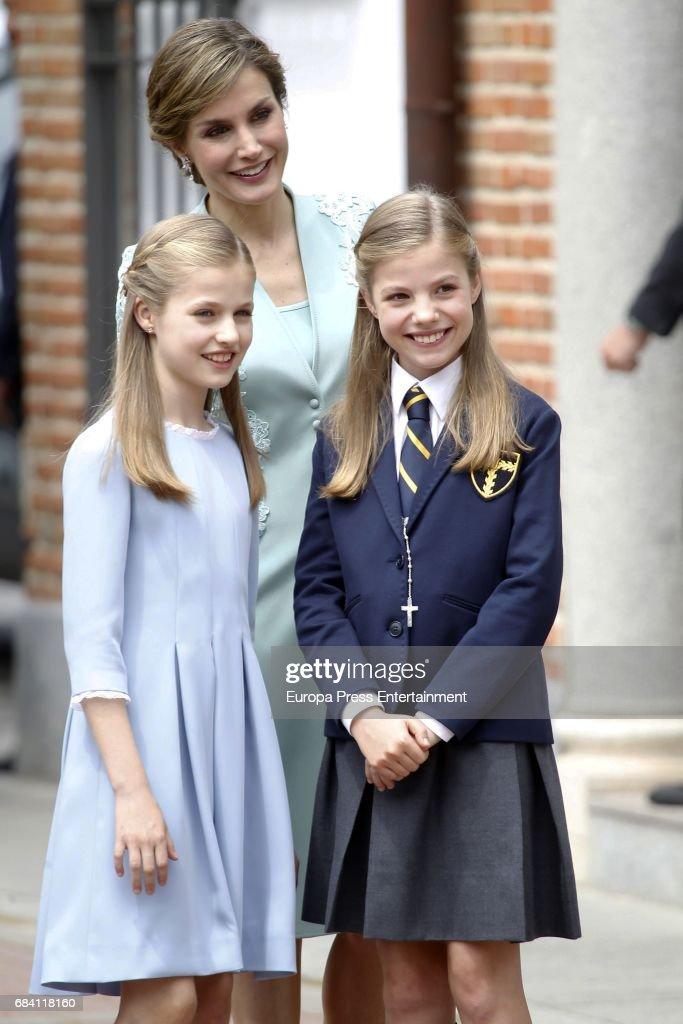 Queen Letizia of Spain, Princess Leonor and Princess Sofia (R) attend the First Communion of Princess Sofia at the Asuncion de Nuestra Senora on May 17, 2017 in Madrid, Spain.